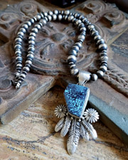 Native American Spiderweb Turquoise & Sterling Silver Feather Pedant AND Necklace | Schaef Designs | New Mexico