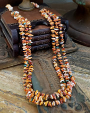 Schaef Designs Southwestern Turquoise Orange spiny & Sterling Silver 3 strand pueblo necklace | New Mexico