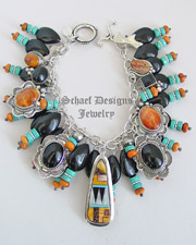 Schaef Designs Orange Spiny Oyster Black Onyx Turquoise & Sterling Silver Charm Bracelet | New Mexico