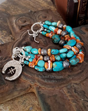 Schaef Designs Orange Spiny Oyster Shell & turquoise 5 strand Southwestern Charm Bracelet | New Mexico