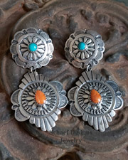 Southwestern orange spiny oyster shell, blue turquoise & stamped sterling silver double concho POST earrings | Schaef Designs | New Mexico