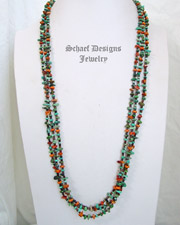 Schaef Designs Turquoise Spiny Oyster Pin Shell & Sterling Silver 3 Strand Necklace | New Mexico