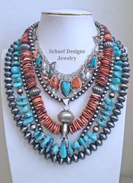 Schaef Designs Spiny Oyster Turquoise & Sterling Silver Necklace Pairings | New Mexico