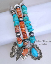 Schaef Designs Southwestern Basics Orange Spiny Oyster Turquoise & Navajo Pearl Stretch Stacking Bracelets | New Mexico