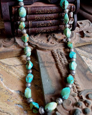 Schaef Designs Spiral Turquoise & Sterling Silver Bench Bead Long Necklace | New Mexico