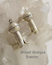 Old heavy sterling silver squash blossom wire earrings | New Mexico