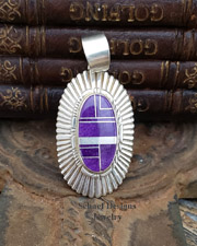 Melvin Francis signed RARE sugilite inlaid sterling silver pendant | Schaef Designs | New Mexico