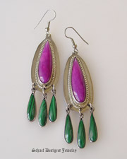 RARE high grade sugilite, malachite & sterling silver wire Earrings | Schaef Designs | New Mexico