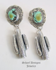 Susan Cummings Sterling Silver Saguaro Cactus on Schaef Designs Turquoise POST Earrings | New Mexico