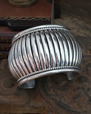 Thomas Charley LARGE Sterling Silver Native American Cuff Bracelet | New Mexico