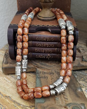 Schaef Designs Terra Cotta Gossular Garnet & Sterling Silver Tube Bead Necklace Set | New Mexico
