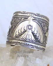 Vince Platero Thunderbird stamped sterling silver unisex cuff bracelet | New Mexico