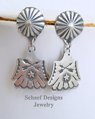 Vince Platero Thunderbird Hand Stamped Sterling Silver Post Earrings | Schaef Designs | New Mexico