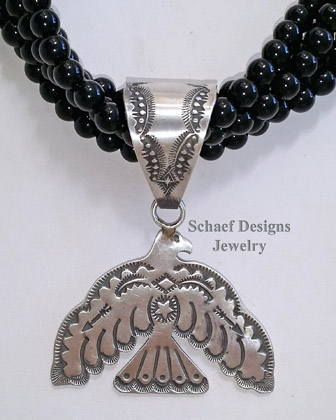Vincent Platero Artist Signed VJP Stamped Sterling Silver Thunderbird Pendant | Schaef Designs | New Mexico