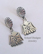 Vince Platero Sterling Silver Hand Stamped Thunderbird POST Earrings | New Mexico