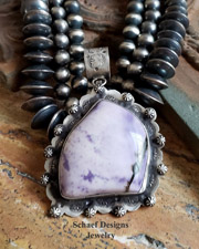 Schaef Designs LARGE Purple Tiffany Stone & Stamped Sterling Silver Southwestern Pendant | New Mexico