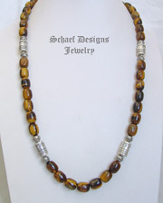 Schaef Designs Long Tigereye & Sterling Silver Tube Bead Necklace | New Mexico
