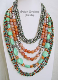 Schaef Designs Turquoise Crabfire Agate & Sterling Silver Necklace Pairings | New Mexico