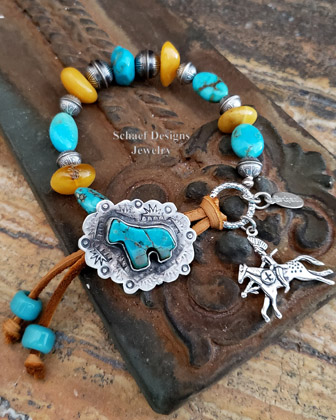 Schaef Designs Turquoise Amber & Sterling Silver Adjustable Cowgirl Bracelet | Arizona