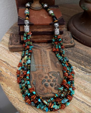 Schaef Designs Turquoise Amber Onyx & Sterling Silver 5 Strand Long Southwestern Necklace  | New Mexico