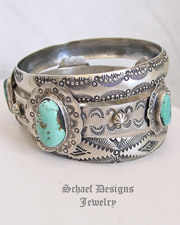 Schaef Designs Stormy Mountain Turquoise & Hand Stamped Sterling Silver Bangle Bracelet