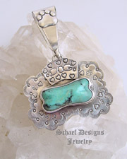 Schaef Designs Turquoise & Sterling Silver Banner Dog Bone Pendant | Take a Chance on Me Dog Tag Collection | Pet Lover's Jewelry | Dog Tags | online upscale native american & southwestern jewelry boutique gallery| Schaef Designs Southwestern turquoise Jewelry | Pet memorial jewelry | Arizona