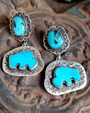 Schaef Designs Turquoise & Sterling Silver Southwestern POST Earrings | New Mexico