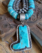 Schaef Designs LARGE Mojave Turquoise & Sterling Silver Boot Southwestern Pendant | Arizona