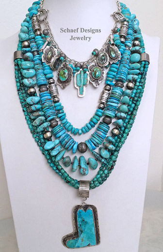 Schaef Designs Mojave Turquoise & Sterling Silver LARGE Southwestern Boot Pendant | New Mexico