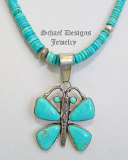 L James Blue Turquoise & Sterling Silver Butterfly Pendant & Turquoise Necklace | New Mexico
