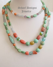 Schaef Designs 60 inch long turquoise & coral wrapping necklace | New Mexico