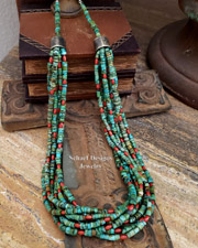 Schaef Designs Turquoise Heishi Coral & Sterling Silver  7 Strand Southwestern Necklace | New Mexico