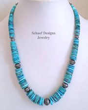 Schaef Designs Large Graduated Blue Turquoise Disk & Bench Bead Necklace | New Mexico