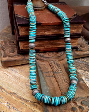 Schaef Designs Blue Turquoise Disk Stamped Sterling Bench Bead Necklace | New Mexico