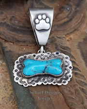 Schaef Designs Turquoise & hand stamped Sterling Silver dog bone pendant | Pet memorial gift, Loss of a Pet, Memorial Jewelry  | Arizona