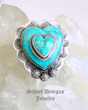 Schaef Designs Double Turquoise & Sterling Silver Adjustable Ring | New Mexico
