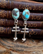 Schaef Designs Sterling Silver Turqouise Dragonfly Tufa Cast POST Earrings | New Mexico