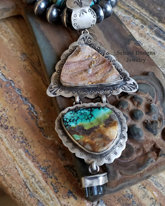 Schaef Designs Hubei Turquoise, Druzy, tourmaline & sterling silver Southwestern Pendant | New Mexico