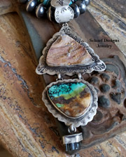 Schaef Designs Turquoise Druzy Tourmaline & Sterling Silver Southwestern Pendant | New Mexico