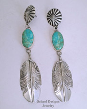 Native American Turquoise & Sterling Silver Long Dangle Feather Earrings | New Mexico