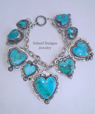 Schaef Designs Kingman Turquoise & Sterling Silver REVERSIBLE Heart Charm Bracelet | Arizona