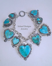 Schaef Designs Kingman Turquoise Hearts & Sterling Silver REVERSIBLE Charm Bracelet | New Mexico