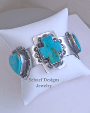 Schaef Designs Kingman Turquoise Hearts & Cross Sterling Silver Cuff Bracelet | New Mexico