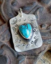 Schaef Designs Turquoise Heart & Stamped Sterling Silver Old Fred Harvey Style Dog Tag | Arizona
