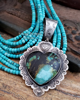 Schaef Designs Turquoise & Sterling Silver Southwestern Large Heart Pendant | Arizona
