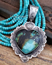 Schaef Designs Kingman Turquoise & Sterling Silver Large Heart Pendant New Mexico