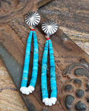 Turquoise & Coral Jacla POST Earrings | New Mexico