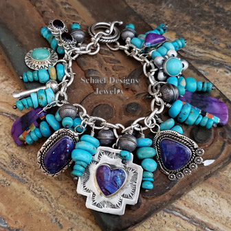 Schaef Designs Southwestern Campitos Turquoise labradorite abalone & sterling silver Native American Charms Bracelet necklace | Arizona