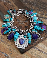Schaef Designs Campitos Turquoise Labradorite Abalone & Sterling Silver Cactus Southwestern Charm Bracelet | Arizona
