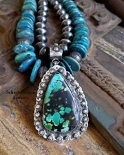 Schaef Designs  Schaef Designs Large Turquoise & Amber Pendant on Leather Necklace | New Mexico